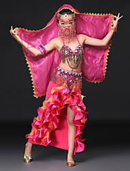 baratos -Dança do Ventre Roupa Espetáculo Elastano Cristal / Strass Babados em Cascata Sem Manga Caído Saias Sutiã Cinto Decoração de Cabelo