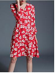Feminino Evasê Vestido,Casual Simples Estampado Decote V Altura dos Joelhos Manga Comprida Poliéster Outono Cintura Média Micro-Elástica
