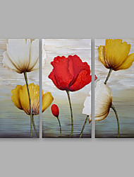 cheap -Oil Painting Hand Painted - Floral/Botanical Modern Canvas Three Panels
