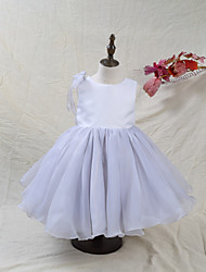 cheap -A-Line Knee Length Flower Girl Dress - Organza Satin Sleeveless Jewel Neck with Bow(s) Color Block by LAN TING BRIDE®
