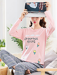 cheap -Women's Suits Pajamas,Print Print Cotton Blushing Pink