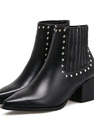 Feminino Sapatos Couro Ecológico Inverno Outono Conforto Botas Salto Robusto Dedo Apontado Botas Curtas / Ankle para Casual Preto