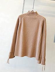 Недорогие -Жен. Однотонный Простой Вязаная ткань Пуловер, На каждый день Длинный рукав Круглый вырез Зима