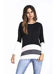 cheap -Women's Puff Sleeve Spandex T-shirt - Color Block, Cut Out