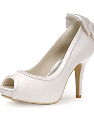 cheap -Women's Shoes Lace Spring Summer Basic Pump Wedding Shoes Stiletto Heel Peep Toe Bowknot for Wedding Party & Evening White