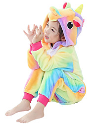 Kigurumi Pajamas Flying Horse Unicorn Onesie Pajamas Costume Flannel Fabric Yellow Cosplay For Kid Animal Sleepwear Cartoon Halloween