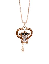 cheap -Women's Rhinestone Pendant Necklace Chain Necklace - Metallic Hip-Hop Monkey Necklace For Street Date