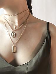 Недорогие -Жен. Крест Геометрической формы форма Крупногабаритные Мода Ожерелья с подвесками Заявление ожерелья , Сплав Ожерелья с подвесками