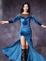 economico -Danza del ventre Vestiti Per donna Esibizione Tulle Chiffon vellulato Più materiali Con spacco 3/4 Sleeve di lunghezza Naturale Abiti