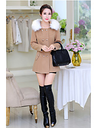cheap -Women's Going out Casual/Daily Street chic Winter Fall Coat,Solid Notch Lapel Long Sleeve Regular Cashmere Polyester Oversized