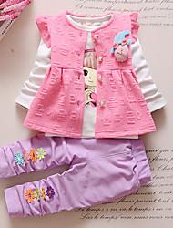 cheap -Girls' Daily Going out Print Cartoon Clothing Set,Cotton Acrylic All Seasons Long Sleeve Cute Casual Active Purple Fuchsia