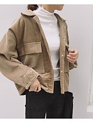 cheap -Women's Going out Simple Winter Fall Jacket,Solid Shirt Collar Long Sleeve Short Nylon Patchwork