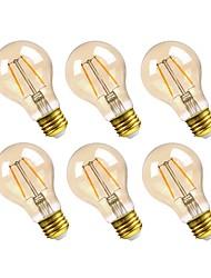 Недорогие -GMY® 6шт 2.5W 160lm E26 LED лампы накаливания A19 2 Светодиодные бусины COB Диммируемая Декоративная Светодиодная лампа Тёплый белый