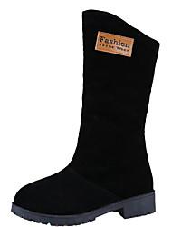Feminino Sapatos Pele Nobuck Primavera Outono Conforto Botas de Neve Botas Sem Salto Botas Cano Médio para Casual Preto Marron