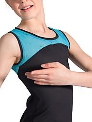 baratos -Top para Patinação Artística Mulheres Para Meninas Patinação no Gelo Blusas Laranja Azul Com Elástico Espetáculo Praticar Roupa para