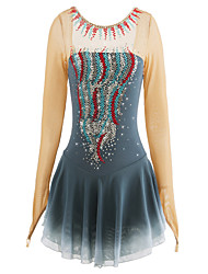 cheap -Figure Skating Dress Women's Girls' Ice Skating Dress Light Grey Rhinestone Performance Skating Wear Handmade Classic Rhinestone Long