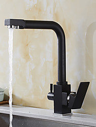 cheap -High Quality Brass Antique Oil-rubbed Bronze Water Purifier Function Two Handles One Hole Rotatable Kitchen Sink Faucet
