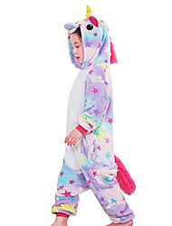 cheap -Kigurumi Pajamas Flying Horse Unicorn Onesie Pajamas Costume Flannel Fabric Purple Yellow Rainbow Blue Pink Cosplay For Children's Animal