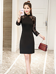 cheap -Women's Chinoiserie Bodycon Sheath Dress - Solid Colored, Lace High Waist Stand