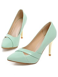 cheap -Women's Shoes Leatherette Spring Summer Comfort Heels Stiletto Heel Pointed Toe for Wedding Party & Evening Pink Green Black