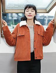 preiswerte -Damen Solide Retro Alltag Jacke,Hemdkragen Winter Langärmelige Standard Andere