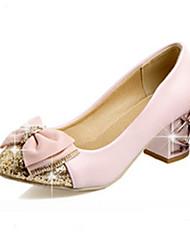 Недорогие -Жен. Обувь Полиуретан Весна / Осень Удобная обувь / Оригинальная обувь Обувь на каблуках На толстом каблуке Круглый носок Бант Бежевый /