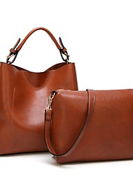 preiswerte -Damen Taschen PU Bag Set 2 Stück Geldbörse Set Reißverschluss für Normal Alle Jahreszeiten Rosa Braun Wein