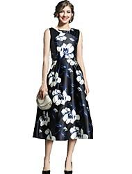 cheap -Women's Work A Line Swing Dress - Floral Maxi