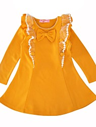 cheap -Girl's Casual/Daily Solid Dress, Cotton Spring Fall Long Sleeves Princess Yellow Wine
