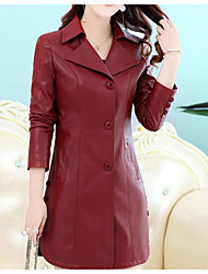 cheap -Women's Street chic Trench Coat-Solid Colored,Pleated Peter Pan Collar
