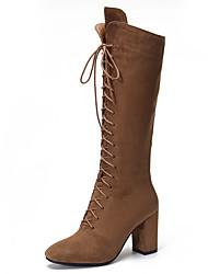 Недорогие -sw 5050 женская обувь из кожзаменителя зимние осенние комфортные сапоги коренастый каблук колена высокие сапоги для повседневной работы& карьера черный коричневый