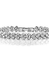 abordables -Femme Zircon Cœur Bracelet - Grande occasion Habillement Forme de Ligne Argent Bracelet Pour Cérémonie Soirée