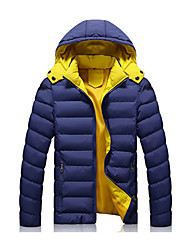cheap -Men's Sports Vintage Active Cotton Jacket-Solid Colored Hooded