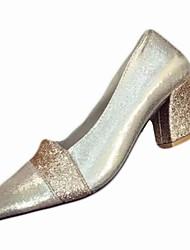 Feminino Sapatos Couro Ecológico Inverno Conforto Saltos Salto Robusto Dedo Apontado para Casual Dourado Preto