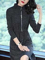 Feminino Bainha Vestido,Feriado Para Noite Casual Sólido Colarinho Chinês Altura dos Joelhos Manga Comprida Poliéster Inverno Outono