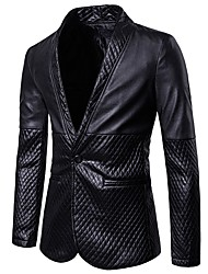 cheap -Men's Casual/Daily Simple Sexy Spring Fall Regular Blazer,Houndstooth Shirt Collar PU Cut Out