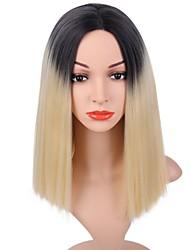abordables -Pelucas sintéticas Recto Corte Bob Raíces oscuras Rubio Mujer Sin Tapa Peluca natural Corta Pelo sintético