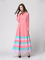 baratos -Etnico e Religioso Abaya Vestido árabe Mulheres Festival / Celebração Trajes da Noite das Bruxas Café Vermelho Azul Rosa claro Verde