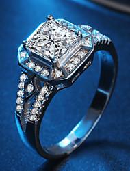 preiswerte -Damen Kubikzirkonia / Strass Silber Bandring - Kreisform Klassisch / Elegant Silber Ring Für Hochzeit / Party