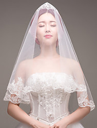 cheap -One-tier Lace Applique Edge Bridal Wedding Wedding Veil Fingertip Veils 53 Embroidery Lace Lace Tulle
