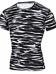 メンズ 日常 スポーツ 春 夏 Tシャツ,カジュアル パンク&ゴシック ラウンドネック カモフラージュ ポリエステル 長袖