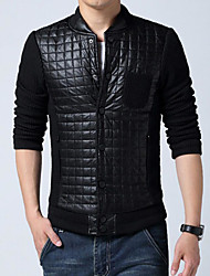 cheap -Men's Casual/Daily Simple Winter Jackets,Solid Round Neck Long Sleeves Regular Polyester