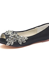 cheap -Women's Shoes Stretch Satin Summer Comfort Wedding Shoes Flat Peep Toe Crystal for Party & Evening Dress Black
