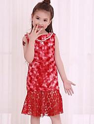 Robe Fille de Couleur Pleine Imprimé Points Ronds Polyester Autres Eté Sans Manches Mignon Actif Princesse Vert Noir Rouge