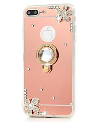economico -Custodia Per iPhone 7 Plus iPhone 7 Apple iPhone 8 Plus iPhone 7 Plus Con diamantini Con supporto Supporto ad anello A specchio Per retro