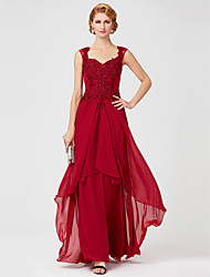 cheap -A-Line Queen Anne Floor Length Chiffon Lace Mother of the Bride Dress with Beading Lace Sequins by LAN TING BRIDE®