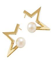 abordables -Femme Adorable Etoile Zircon / Perle imitée Imitation de perle / Zircon / Plaqué or Boucles d'oreille goujon - Mode Or / Noir Des boucles