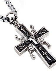cheap -Men's Pendant Necklace / Chain Necklace - Cross, Skull European, Hip-Hop Silver Necklace One-piece Suit For Club, Bar