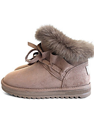 cheap -Women's Shoes PU Winter Comfort Snow Boots Boots Round Toe Booties/Ankle Boots for Casual Black Khaki