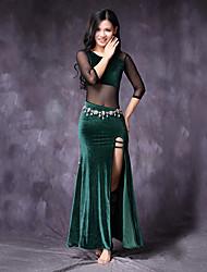 economico -Danza del ventre Vestiti Per donna Prestazioni Tulle Chiffon vellulato Con spacco Più materiali Manica a 3/4 Naturale Abito